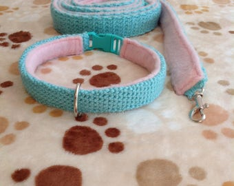 Crochet Mint/Pastel Pink Dog Collar + Leash Set