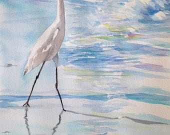Original Watercolor of an Egret Walking the Beach