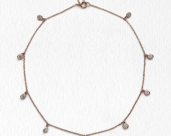 Rose Gold Choker,Dangle Choker, Dainty Crystal Choker, Bridal Necklace, Choker Necklace, Minimalist jewelry, Wedding Jewelry, N354-RG
