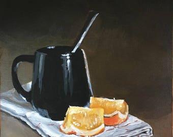 Original Painting, Still Life, Acrylic, Tea Time, Fruit, Small Painting, Kitchen Art