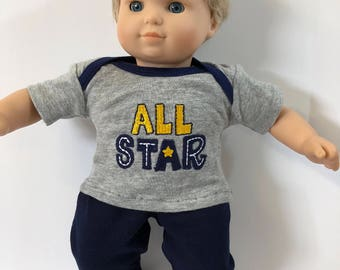 "BOY 15 inch Bitty Baby Clothes, 2-Piece Outfit, All STAR-Soccer-Football, Navy Pants,15"" AG American Doll Bitty Baby Boy & Twin Doll Clothes"