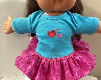 "Cabbage Patch KIDS Doll 16 inch Clothes, Adorable ""Mommy and BABY BIRD"" Ruffle & Trim Dress, 16 inch CPKKids Doll, Fits 15 inch Bitty Baby"