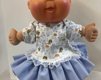"Cabbage Patch PREEMIE 11 inch Doll Clothes, Adorable ""PUPPY DOG"" Ruffle & Lace Trim Dress, Cabbage Patch Preemie Baby, Love My Puppy Dog!"