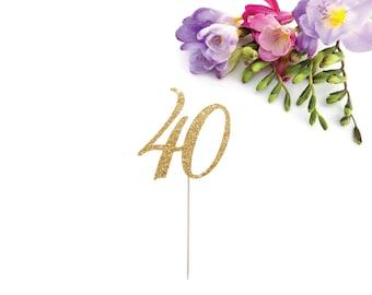 40 Cake Topper, Forty Cake Topper, 40th Birthday Cake Topper, Fortieth Cake Topper, Age Cake Topper, Hello 40, Glitter Forty Cake Topper