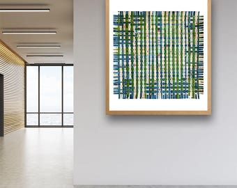 Letters In Grass Paper Weaving- Original Handwoven Art- Woven Paper-  Large Abstract- Green, Blue, Pink, Beige- 27x27- Ready To Ship