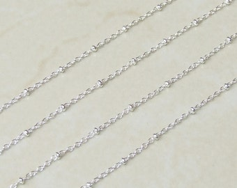 """Link Disk Chain - Sliver Cable Chain - Link Chain - Jewelry Chain, Necklace Chain, Silver - 2.1mm x 1.7mm - 1/16"""" x 5/64"""" - 3-20 Feet  - 076"""