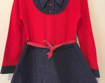 Polka dot vintage/retro girls swing mod mini dress with belt. Approx size 5.
