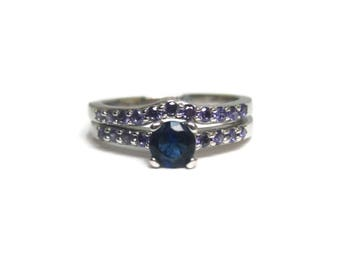 Sterling Sapphire Amethyst Engagement Wedding Ring Set Size 8