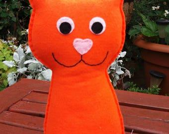 Cat, Felt Cat, CE Tested, Felt Toy, Kitten, Orange, Soft Toy, Kitty, Baby Shower, New Baby, Childrens Toy, Felt Animals, Orange Cat