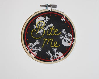 Bite Me 4 inch Embroidery Hoop
