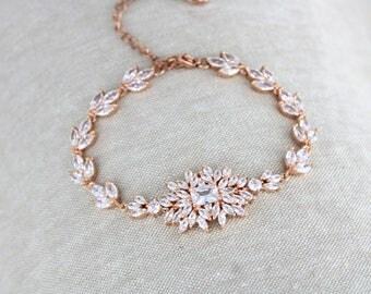 Crystal Bridal bracelet, Rose Gold bracelet, Bridal jewelry, Art Deco bracelet, Bridesmaid gift, Vintage style bracelet, Wedding bracelet