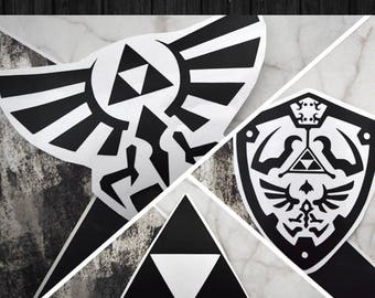 Legend of Zelda - Wingcrest, Hylian Shield, and Triforce Vinyl Decal Stickers