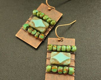Wire Wrapped Czech Glass Earrings - Copper Earrings - Rustic Jewelry - Turquoise Earrings - Handmade - Boho Gypsy Tribal Style - Lightweight