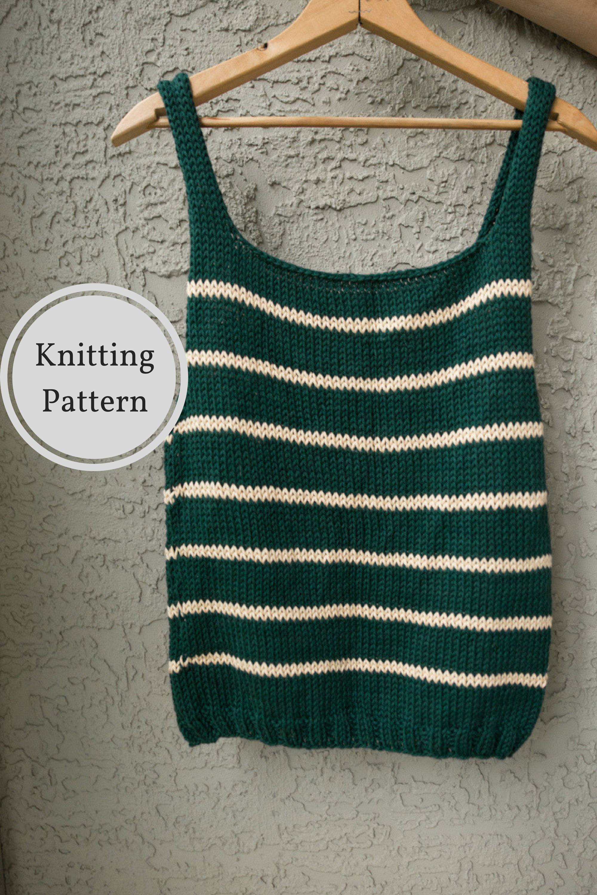 Knitting Pattern For Tank Top : KNITTING PATTERN Emerald Knitted Tank Top Pattern Knitted