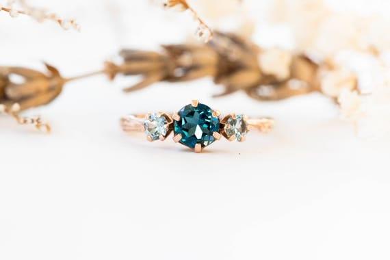 Three stone london blue topaz and aquamarine engagement ring, aquamarine gold engagement ring, twig engagement ring
