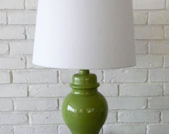 Ceramic table lamp etsy temple ginger jar vintage ceramic table lamp green mozeypictures Image collections