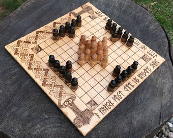 Shieldwall Hnefatafl: Portable folding Hnefatafl Game, Traditional Board Game w/ unique design, Handcrafted & Customizable - MADE TO ORDER