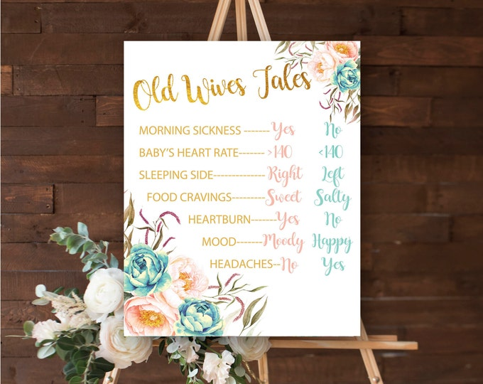 "Old Wives Tales 16x20"" //Gender Reveal // Peonies // Blue or Pink // Floral // Instant Download // Made to Match our FLORENCE COLLECTION"