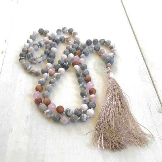 Mala Beads For Change, Pink Zebra Jasper Mala, Rose Quartz and Sandalwood Mala Beads, 108 Bead Mala Necklace, Meditation Mala Beads