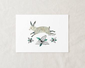 Rabbit + Trillium - Art Print