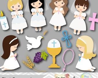 Digital First Communion Clip Art, Girl First Communion Clipart, First Communion Digital Clipart, Girl First Communion Clip Art, 00189