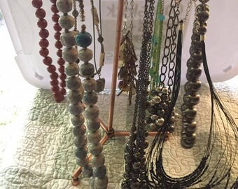 Ten Vintage beaded necklaces of all kinds, colors and shapes, in great condition.