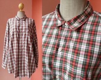 Plaid Shirt Vintage Shirt Men Women Shirt Gingham Shirt Tartan Shirt Button Up Shirt Cotton Shirt Oversized Shirt Long Sleeve Shirt