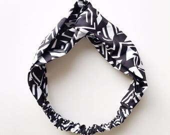 Phyllis Fabric Headband - Turban headband - Monotone Abstract - Boho headband - Womans headband - Adult headband - Black headband