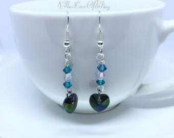 Crystal Drop Earrings made with Swarovski Xilion Hearts and Turquoise Crystals for maximum BLING effect