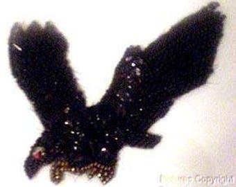Sequins & Beaded Black Gold Eagle Hawk in Flight Applique LAST ONE