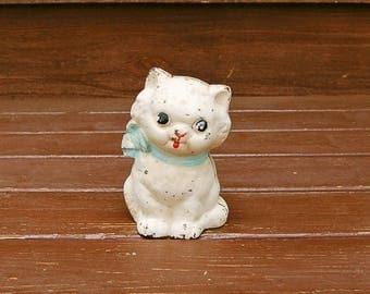 Cast Iron Hubley Cat Bank, Vintage Toy Kitten Bank, Iron White Cat Bank, Antique White Cat Bank