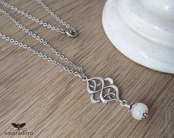 Rainbow Moonstone Necklace, Antique Silver Celtic Knot Pendant, White Moonstone Gemstone Pendant, Etheral Spiritual Jewellery, Handmade UK