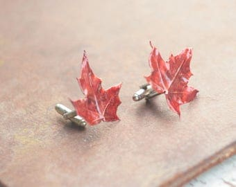 Maple leaf cufflinks, mens gift, electroformed leaves, copper electroform, botanical jewelry, electroplated bright leaf, costume cuff links