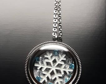 Snowflake Floating Locket Necklace-Winter Jewelry-Great Gift Idea