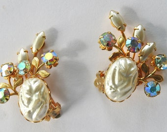 Beau Jewels Faux Baroque Pearls and Aurora Borealis Rhinestone Earrings