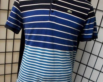 Lacoste alligator preppy adult 3 tone blue & white striped cotton polo shirt 7