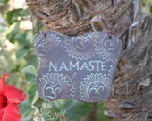 OM Namaste Sign handmade ceramic yoga greeting wall hanging signs inspirational meditation room decor door hanger yoga gift for him or her