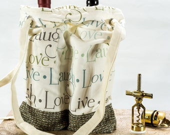 Love, Laugh, Live Traveling Double Wine Bag, Wine Tote, Custom Double Wine Bag for Wine Lovers