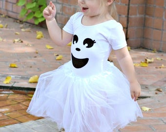 Girls Ghost Costume , Baby Girl Halloween Costume , Girls Halloween Costume , Ghost Tutu Costume , Ghost Tutu Outfit, Halloween Leotard