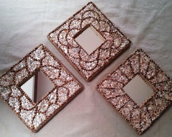 Mosaic oyster shell mirrors Set of three