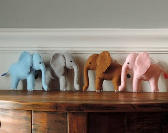 Elephant Ornament Felt Felt Animal Ornament Christmas Ornament Zoo Theme Nursery Decor Baby Elephant Safari Elephant Blue Pink Gray Elephant