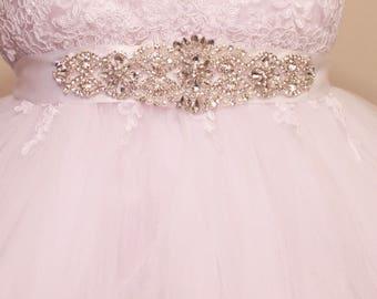 Flower Girl Dress Sash, Crystal Rhinestone Belt, Beaded Sash, Flower Girl Sash, Custom Wedding Sash, Skirt Sash, Floral Sash, Ivory Sash
