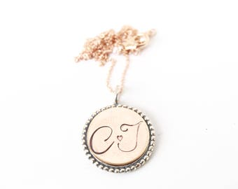 Vintage Style Monogram Necklace, Keepsake Initial Jewelry, Personalized Initial Necklaces for Bridesmaid Gifts , Best Friend Gifts
