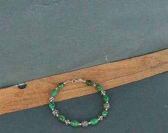 Natural Turquoise Bracelet, Dubrovnik Filigree Ball Bracelet, Sterling Silver Bracelet, Natural Gemstone Beaded Bracelet, Croatian Jewelry