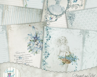 Forget-me-Not Journal Pages and Elements, Vintage Junk Journal Kit, Printable Journal, Paper Craft Supplies, Digital Pages - 'Forget-me-Not'