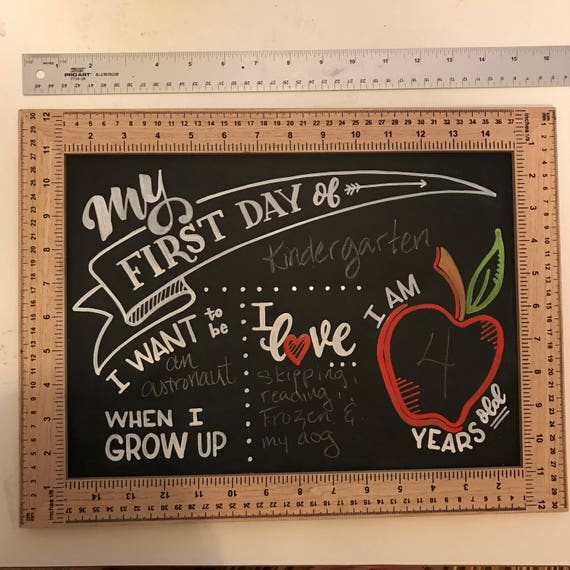 FREE SHIPPING -  First Day of School, Growth Chart, Chalkboard for Kids, Children's School Board, Gift for Parents, Fall, Custom Chalkboard