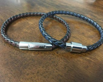Leather Bracelet With Magnetic Clasp - Men's Leather Bracelet - Custom Made To Your Wrist Size, - Great Valentines's Day Gift CS-14