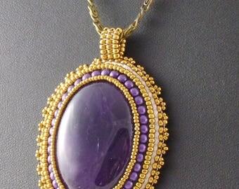 Unique pendant amethyst Bronze bead Embroidery OOAK