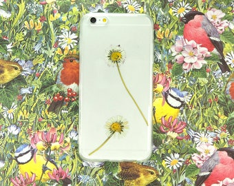 iPhone 6 Plus case with real pressed daisies