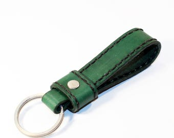 Leather key chain, leather key fob, handmade green key chain, leather key ring, handmade leather accessories.